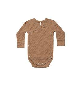 Quincy Mae pointelle kimono onesie- copper