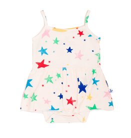 Noé & Zoë skirted onesie- multi stars