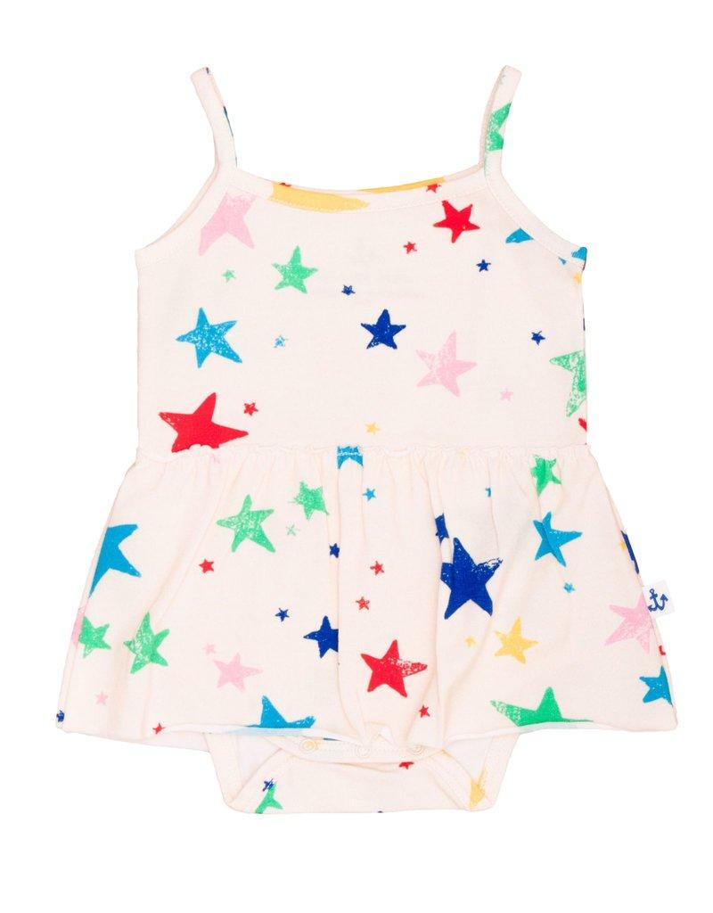 Noé & Zoë skirted onesie- multi stars