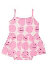 Noé & Zoë skirted onesie- pink smiley