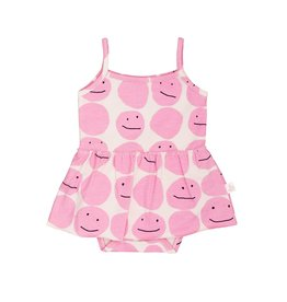 Noé & Zoë skirted onesie- pink smiley