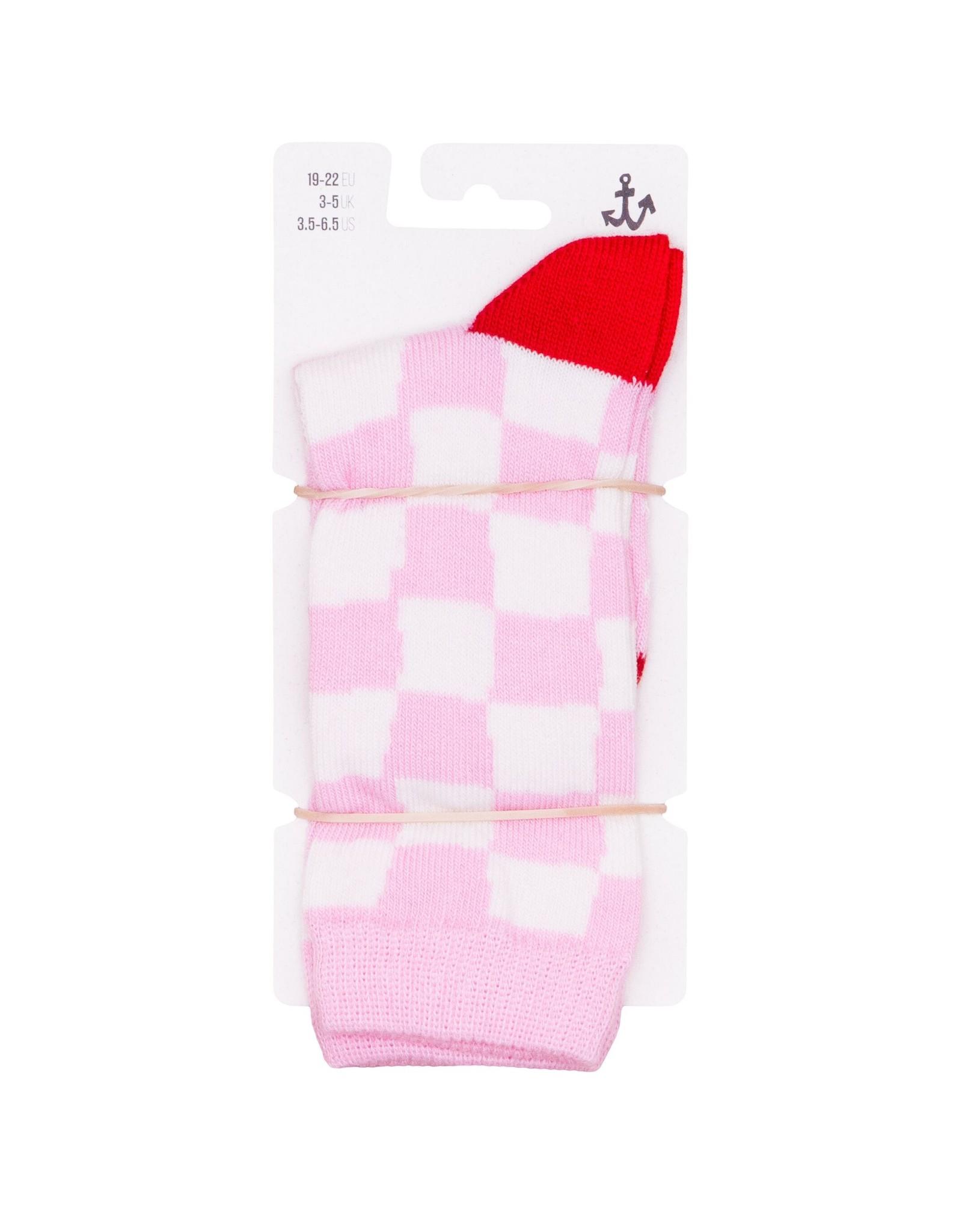 Noé & Zoë crew socks- pink checker