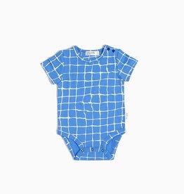 Miles Baby blue grid onesie