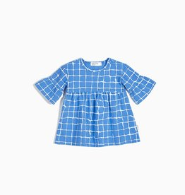 Miles Baby blue grid dress