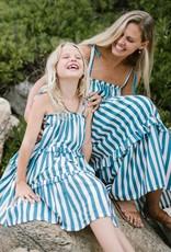 Pink Chicken garden dress- blue stripe