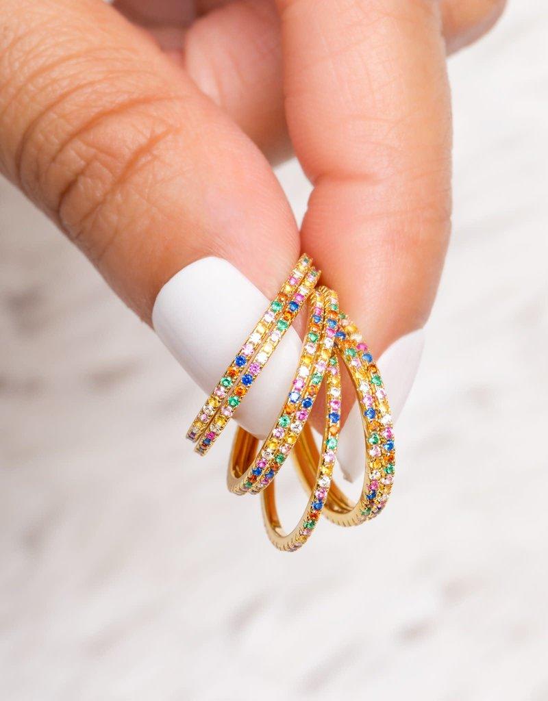 Girls Crew rainbow stack ring- gold