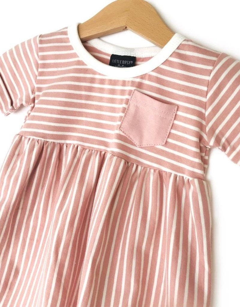 Little Bipsy Collection stripe swoop dress- blush