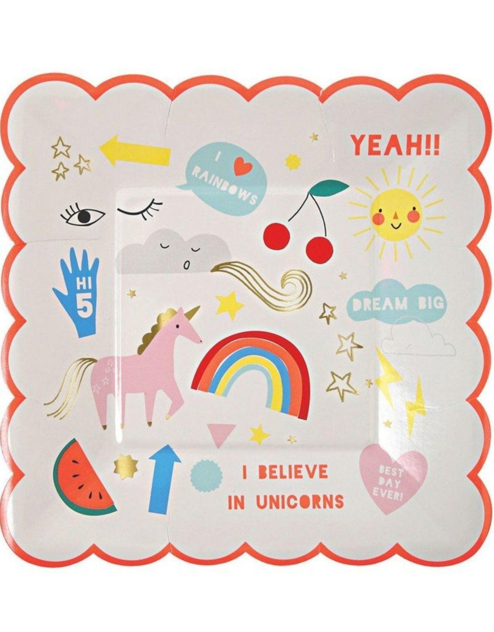 Meri Meri i believe in unicorns plates