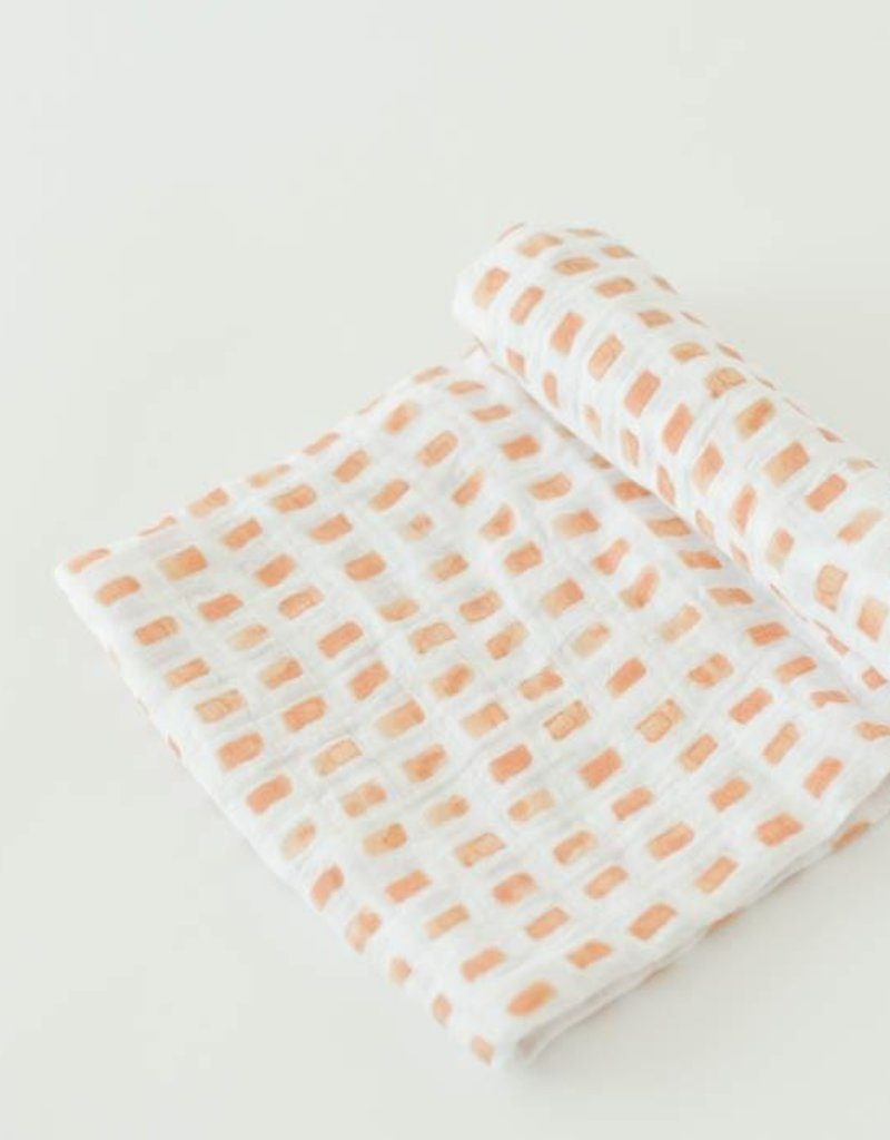 Little Unicorn cotton muslin swaddle- tangerine tiles