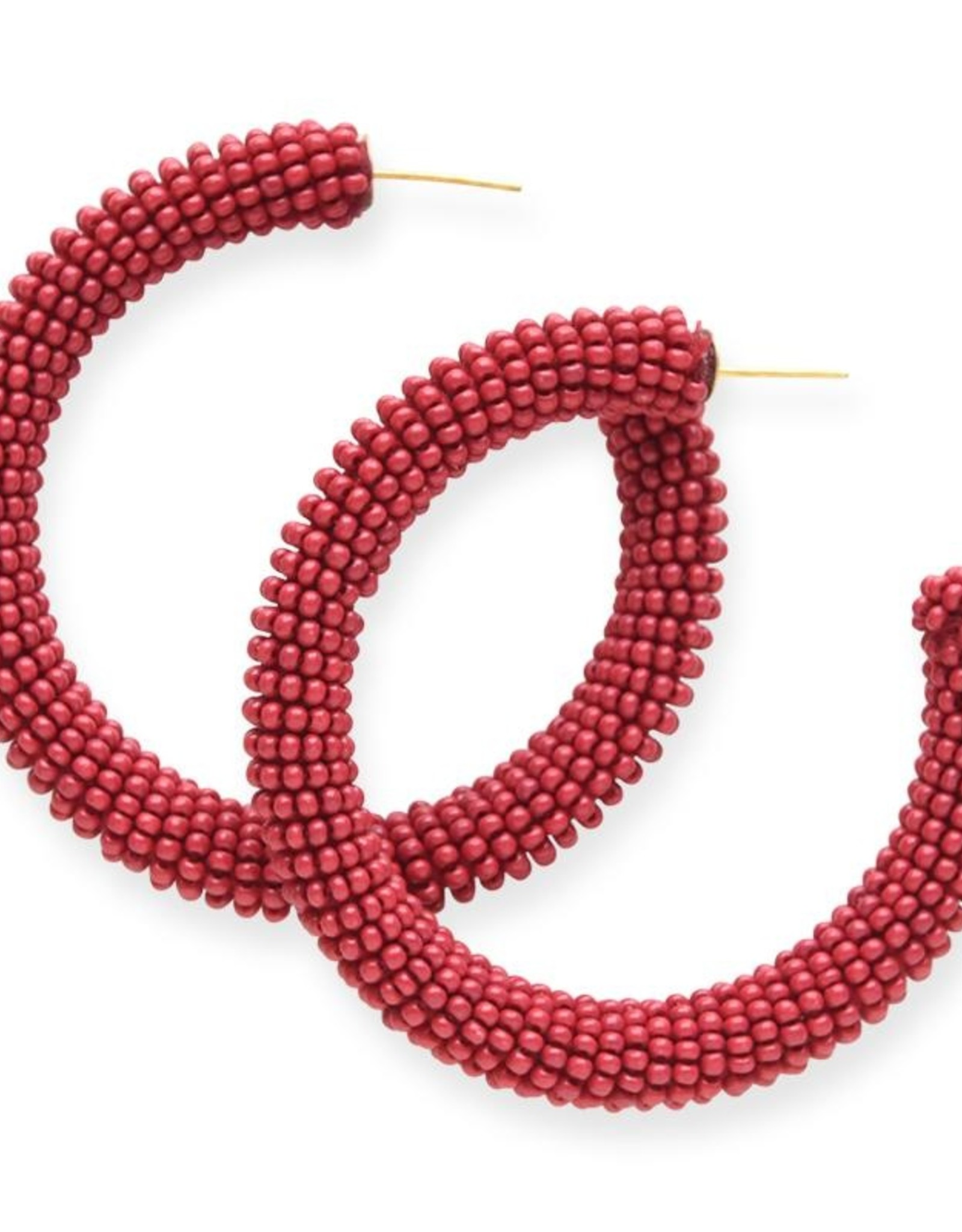 Ink + Alloy seed hoop earrings- red