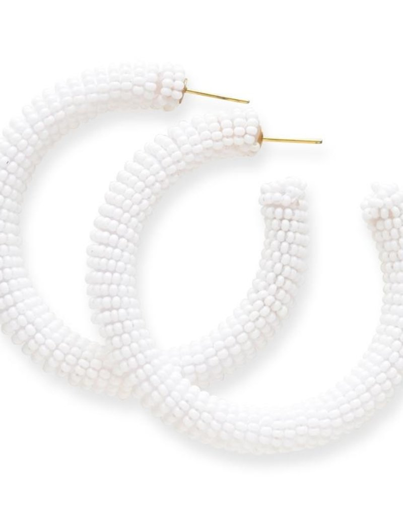 Ink + Alloy seed hoop earrings- white