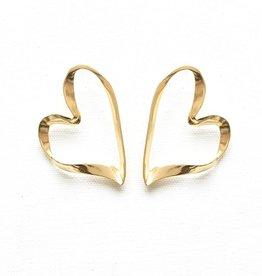 Ink + Alloy ribbon heart earrings- brass