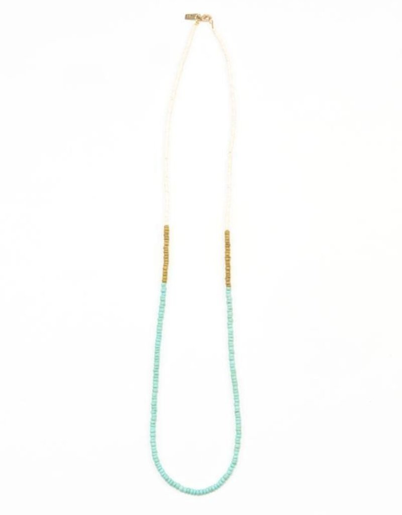 Ink + Alloy color block coconut necklace- mustard and turquoise