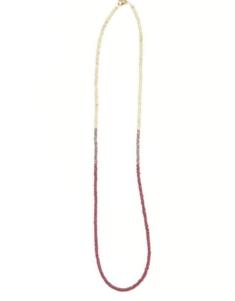 Ink + Alloy color block coconut necklace- purple and port