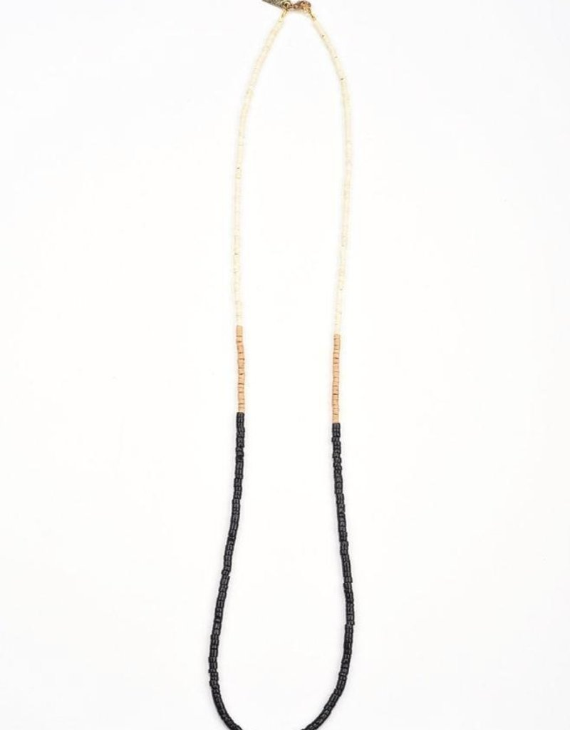 Ink + Alloy color block coconut necklace- black and natural