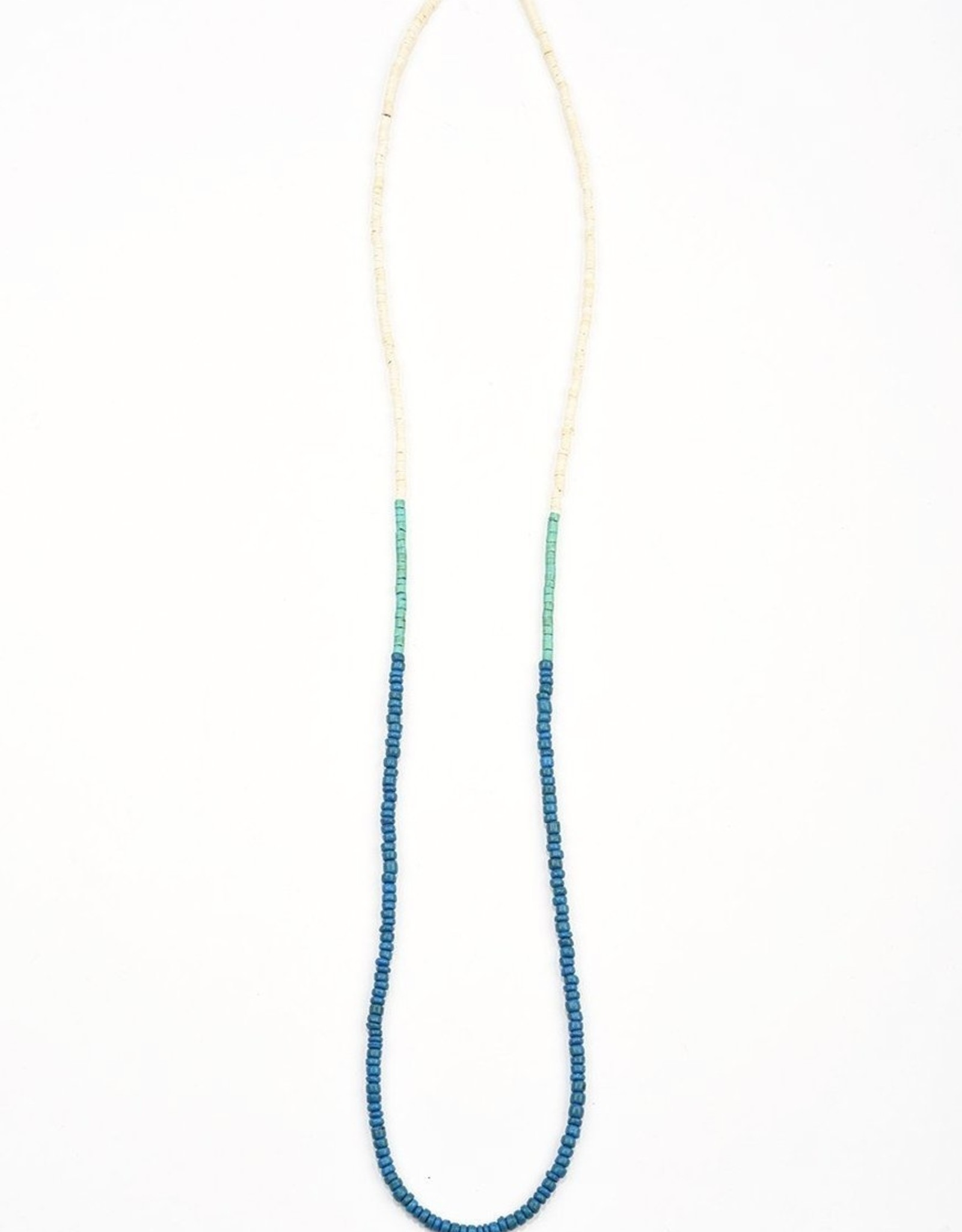 Ink + Alloy color block coconut necklace- blue and turquoise