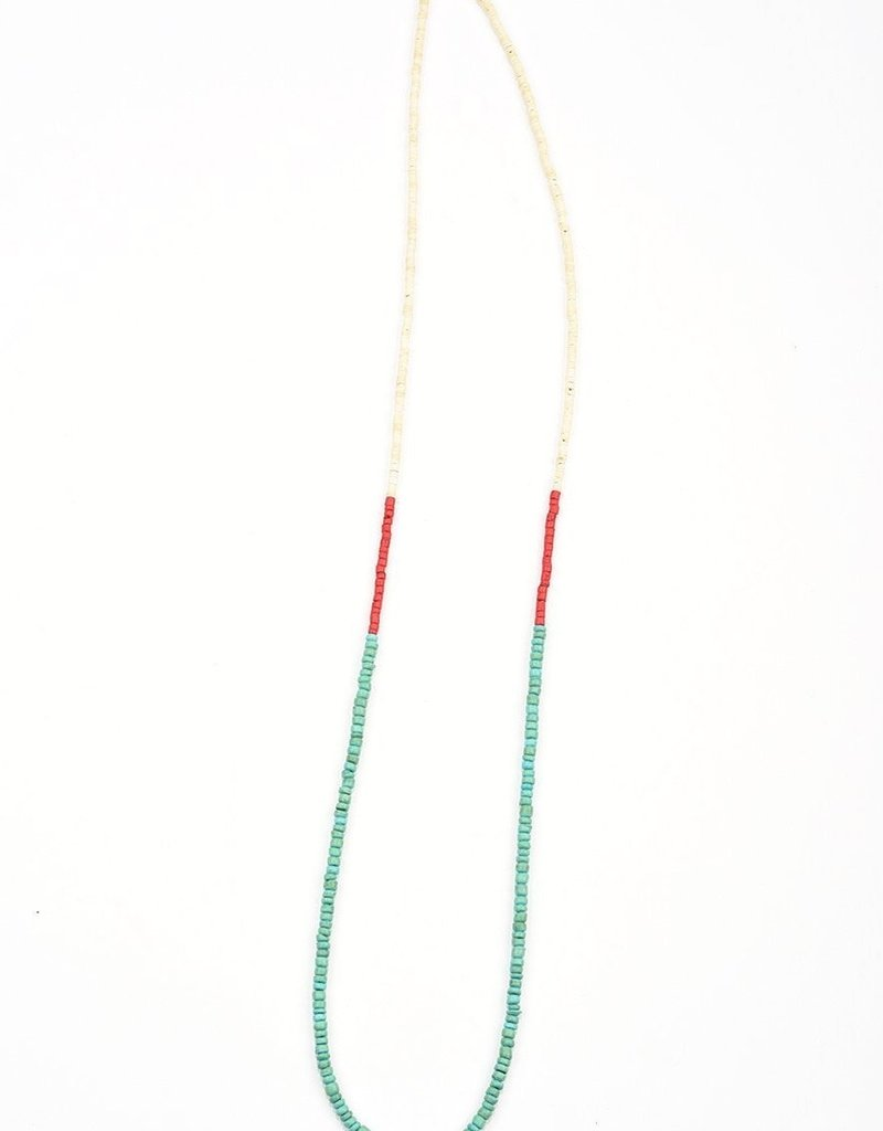Ink + Alloy color block coconut necklace- turquoise and red