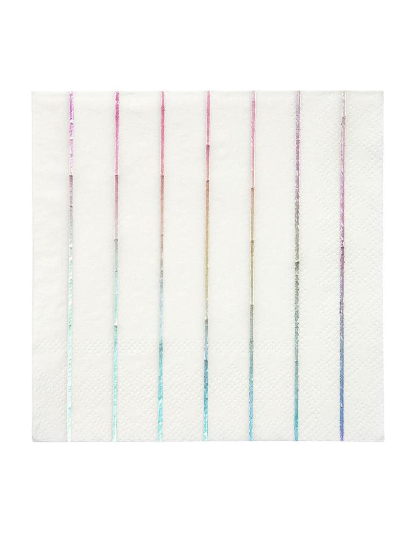 Meri Meri silver holographic stripe napkins