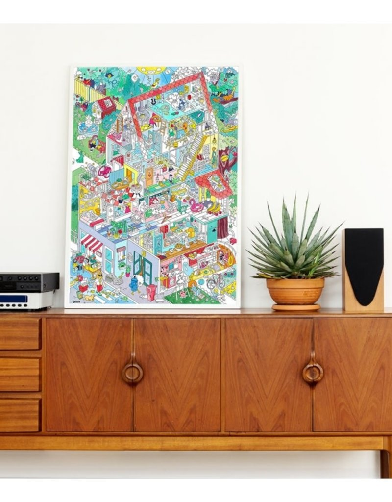 OMY giant coloring poster- home
