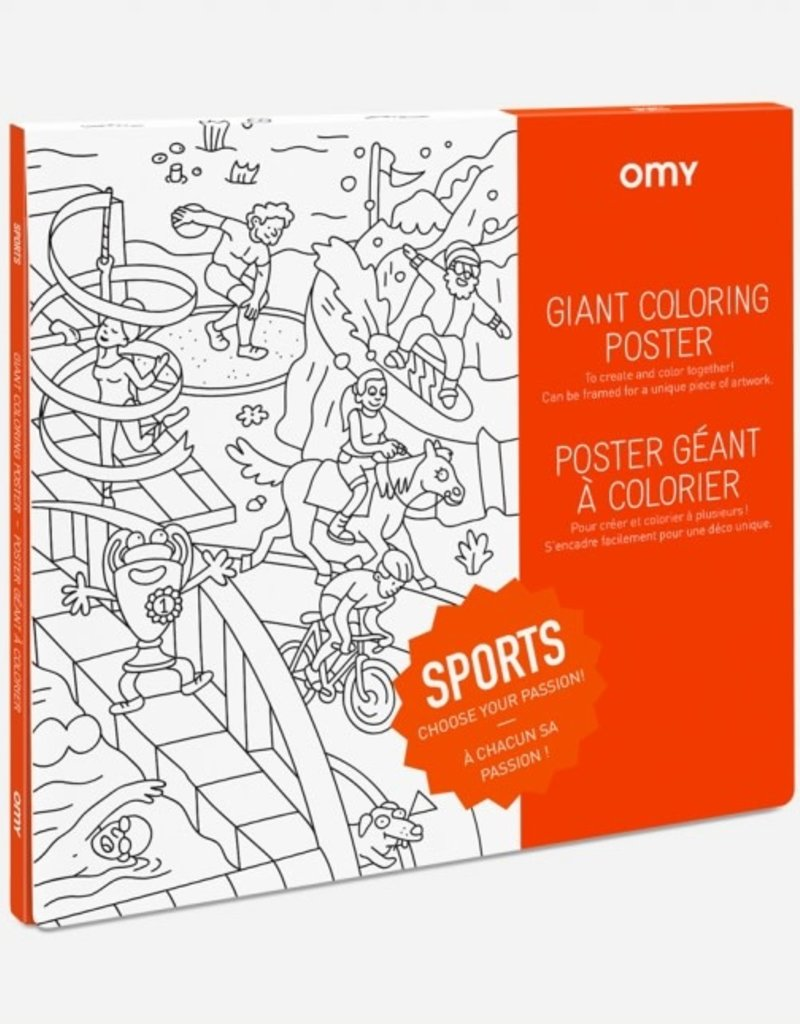 OMY giant coloring poster- sports
