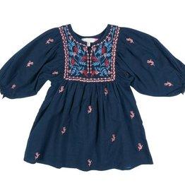Pink Chicken ava bella dress- blue w/ embroidery