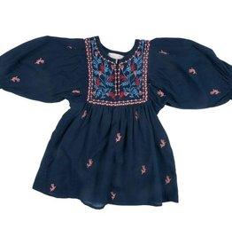 Pink Chicken baby ava bella dress- blue w/ embroidery