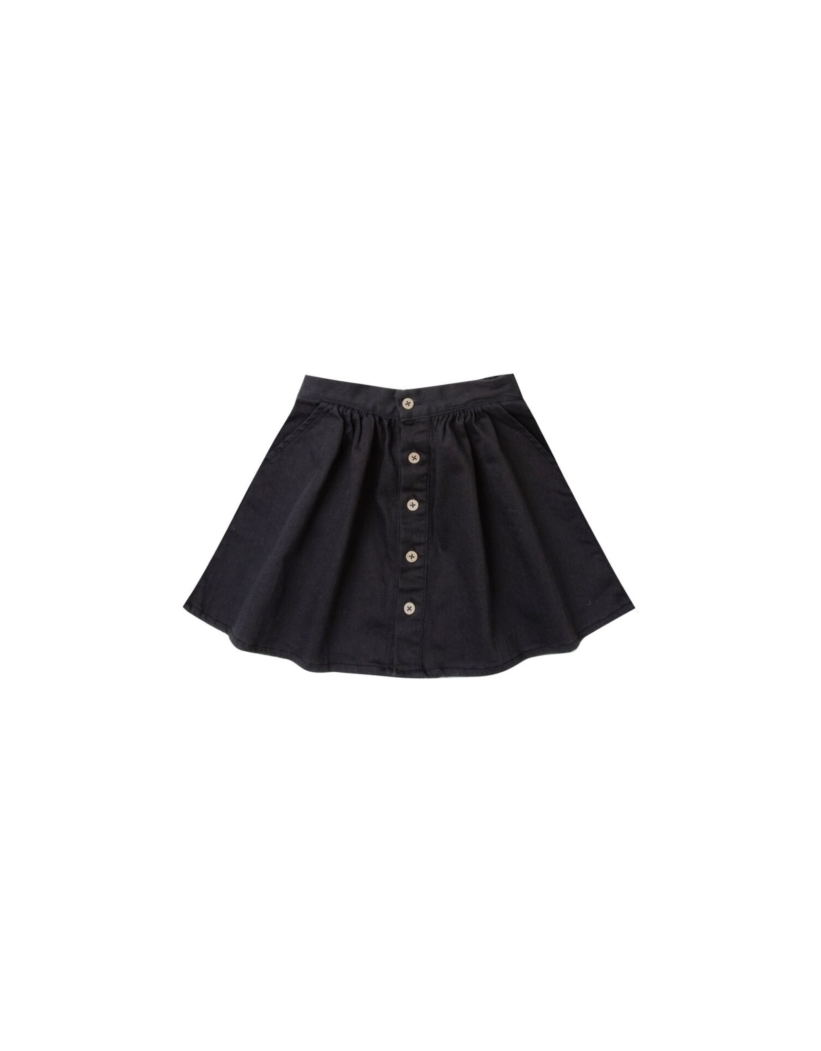 Rylee and Cru button front mini skirt- black