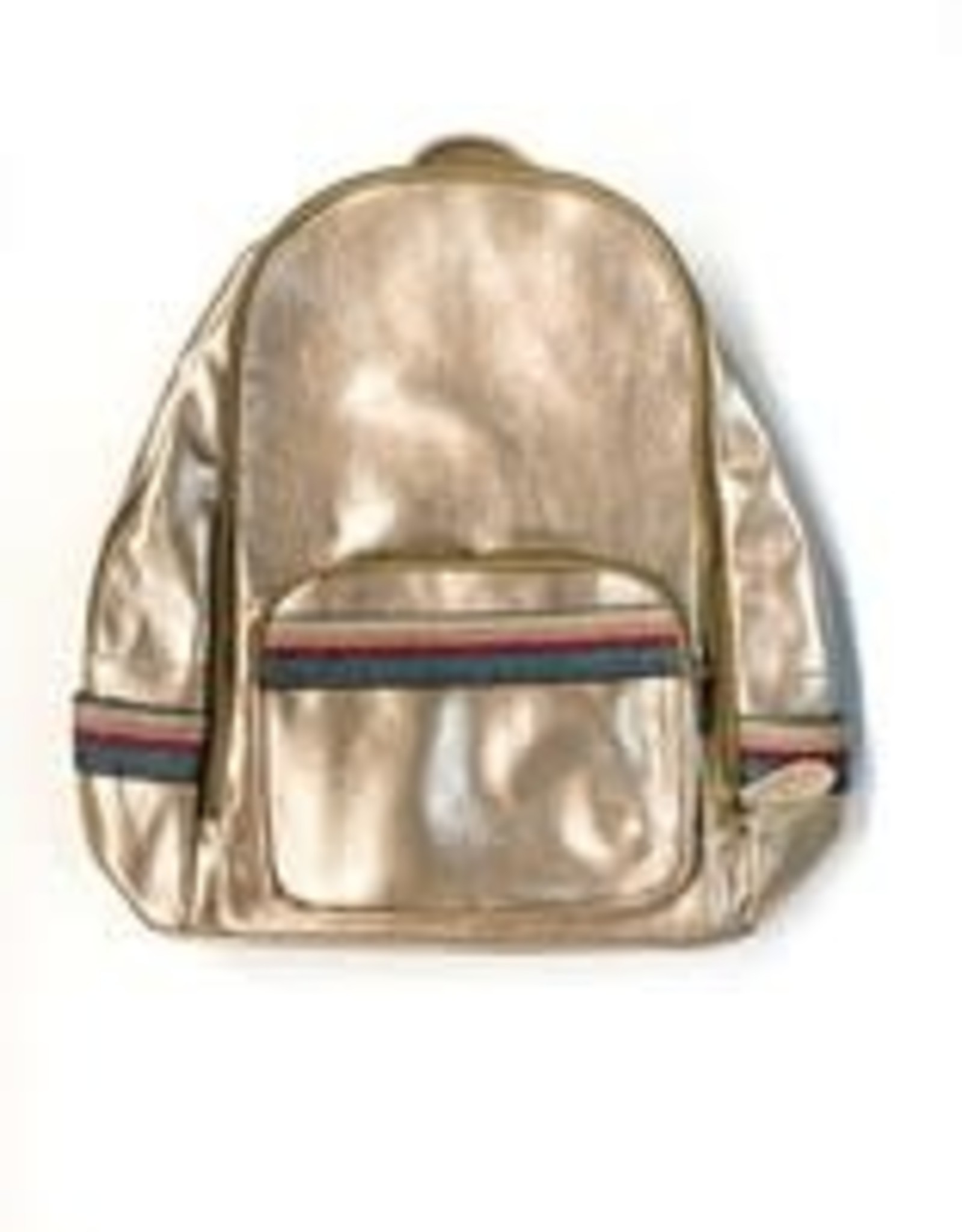 Bari Lynn rose gold stripe backpack