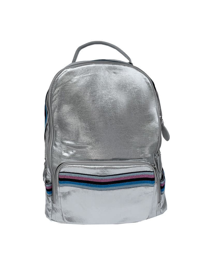Bari Lynn silver stripe backpack
