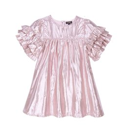 Velveteen ginny dress- pink gold lame