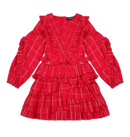 Velveteen winona dress- frill red