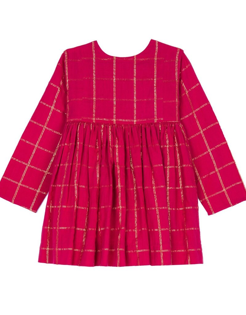 Velveteen camille dress- red check