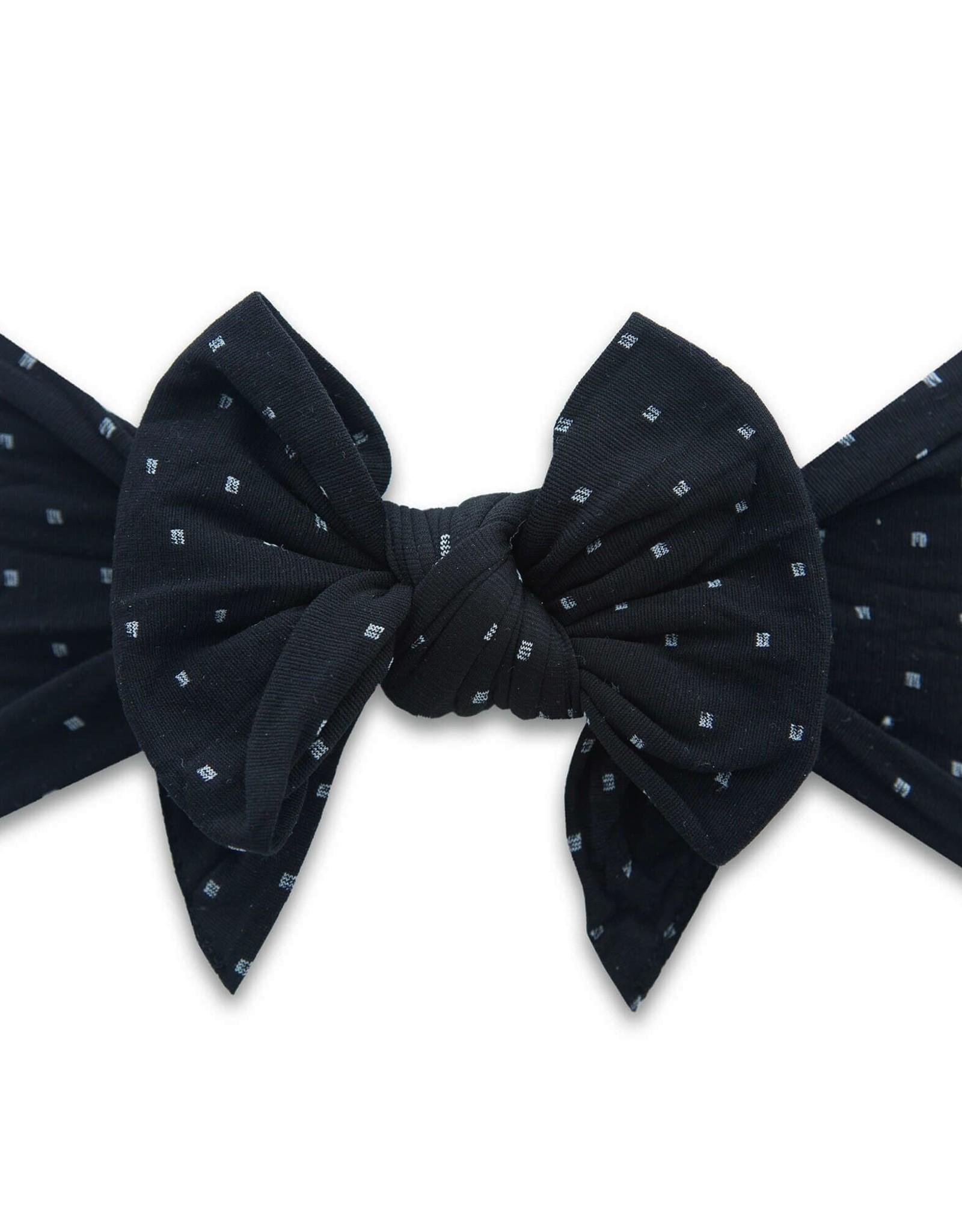 large bow headband-black dot