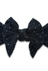 Baby Bling large knot headband black dot
