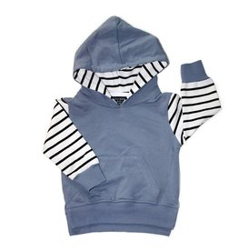 Little Bipsy Collection stripe hoodie- ash blue