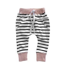 Little Bipsy Collection stripe joggers- blush