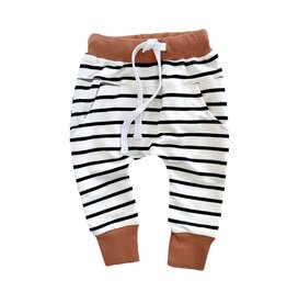 Little Bipsy Collection stripe joggers- rust