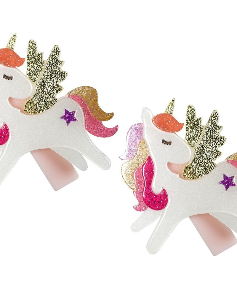 Lilies & Roses unicorn hairclips- coral glitter