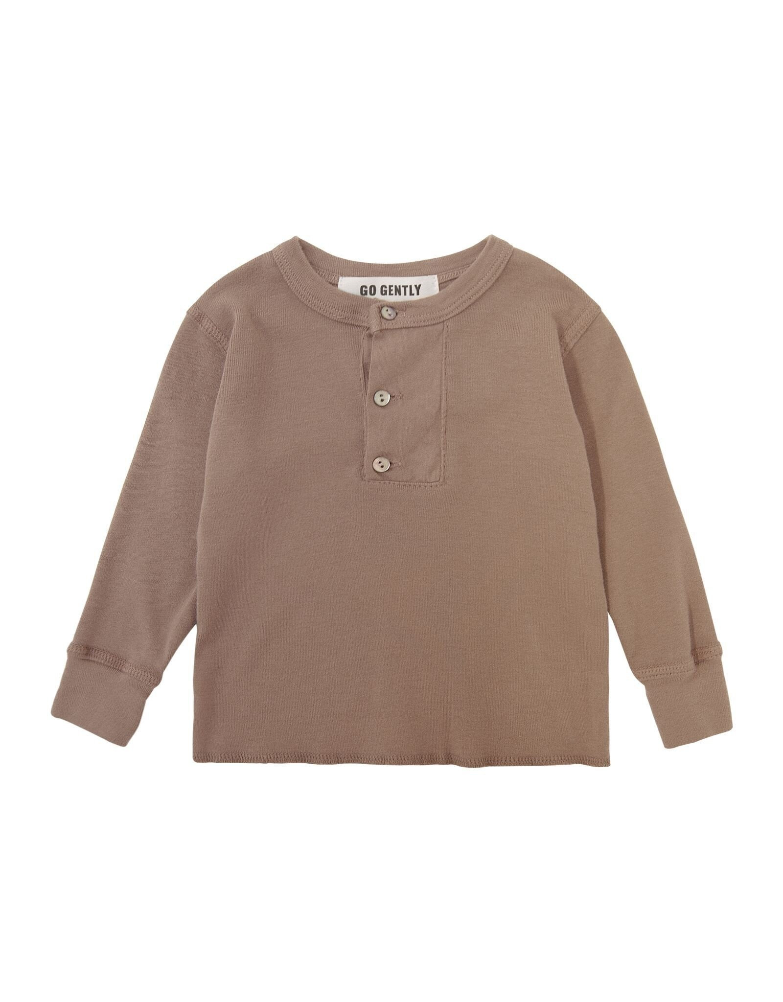 Go Gently Nation placket henley- mud