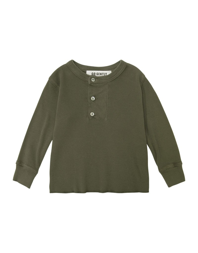 Go Gently Nation placket henley- moss