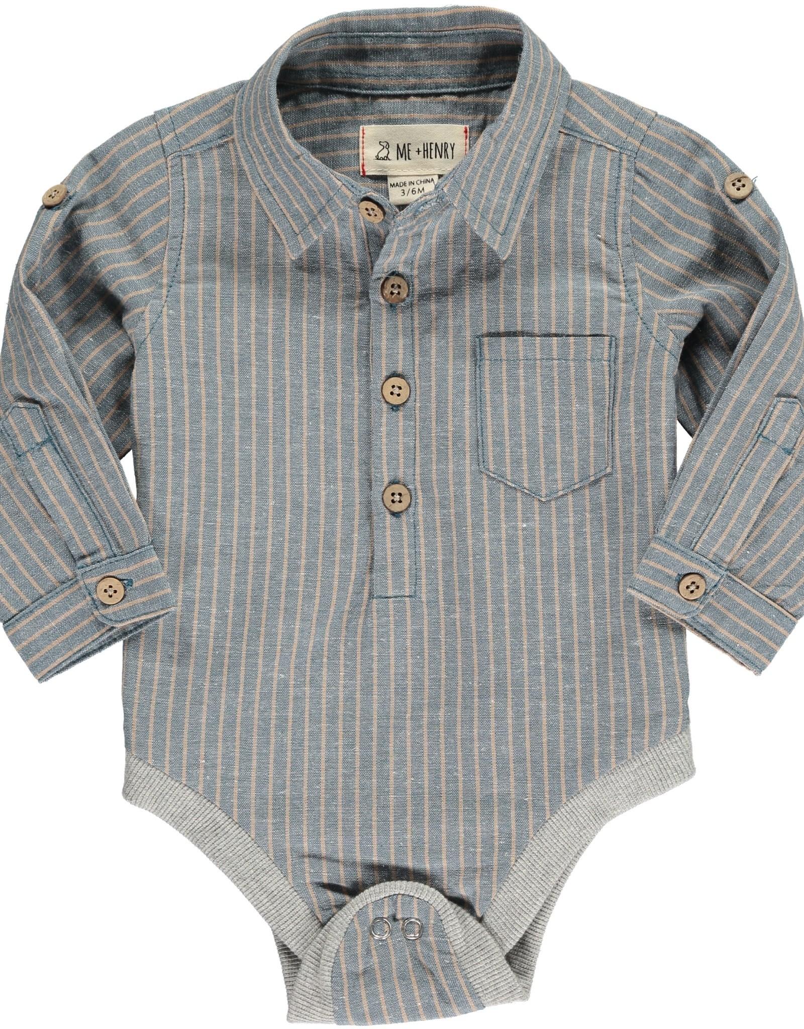 Me & Henry button down onesie- blue/beige stripe