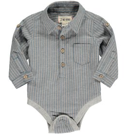 Me & Henry button down onesie- blue/beige stripe