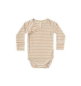 Quincy Mae kimono onesie- honey stripe