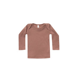 Quincy Mae ribbed l/s tee- clay