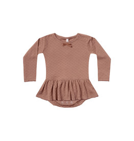 Quincy Mae skirted pointelle onesie- clay