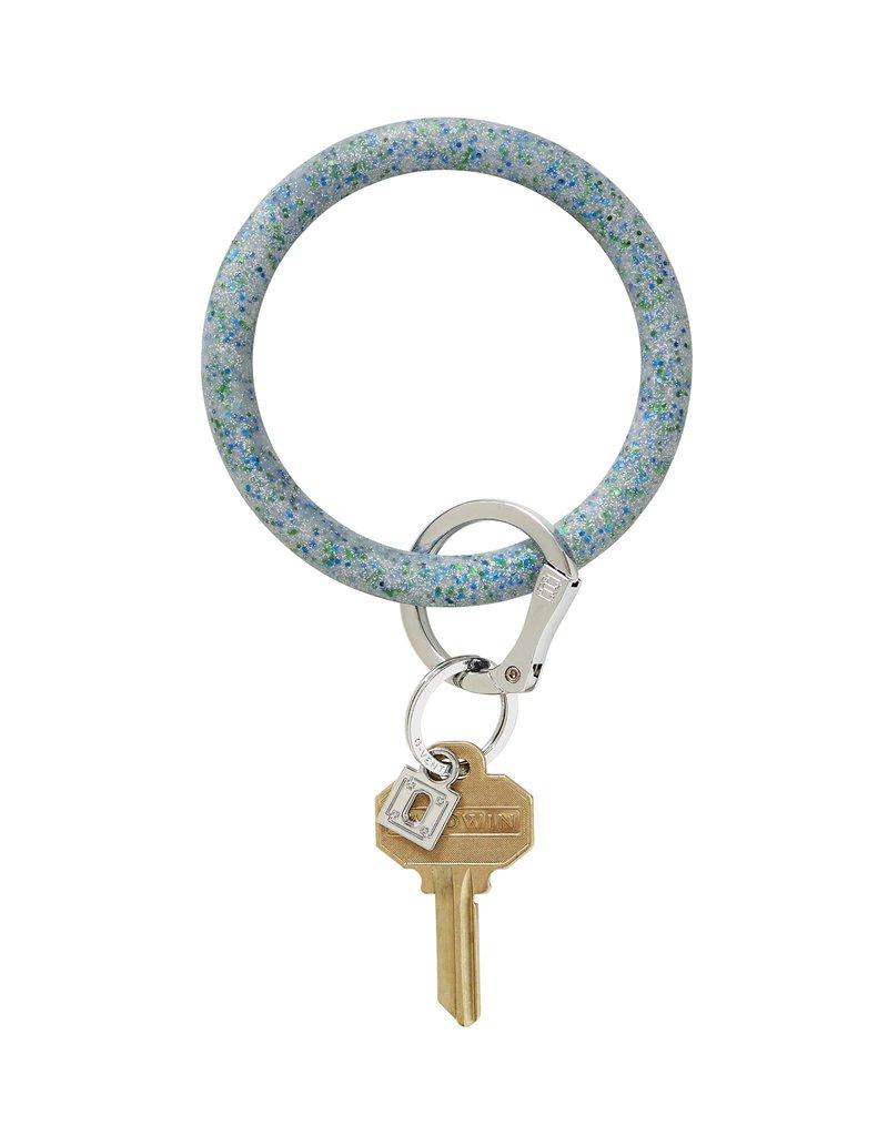 Big O Key Ring blue frost confetti silicone