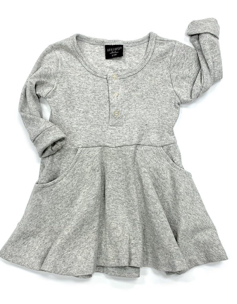 Little Bipsy Collection ribbed dress- grey