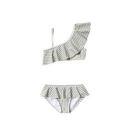Rylee and Cru stripe skirted bikini- olive