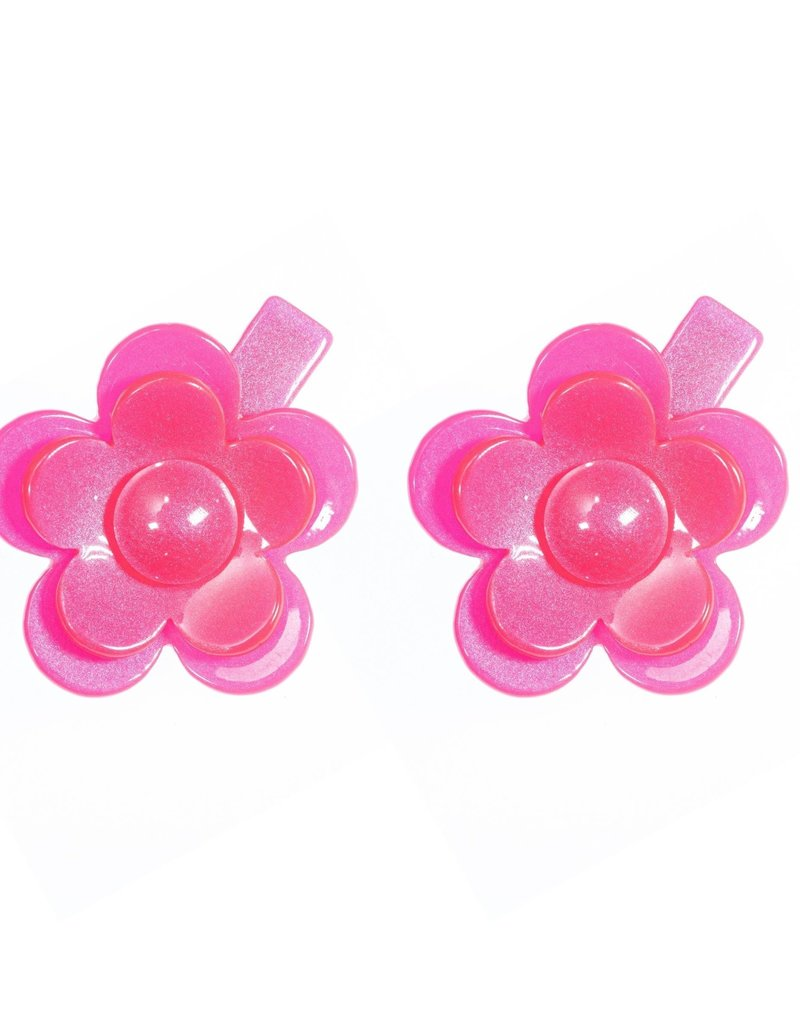Lilies & Roses camellia flower clips- neon pink