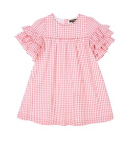 Velveteen ginny dress- coral gingham